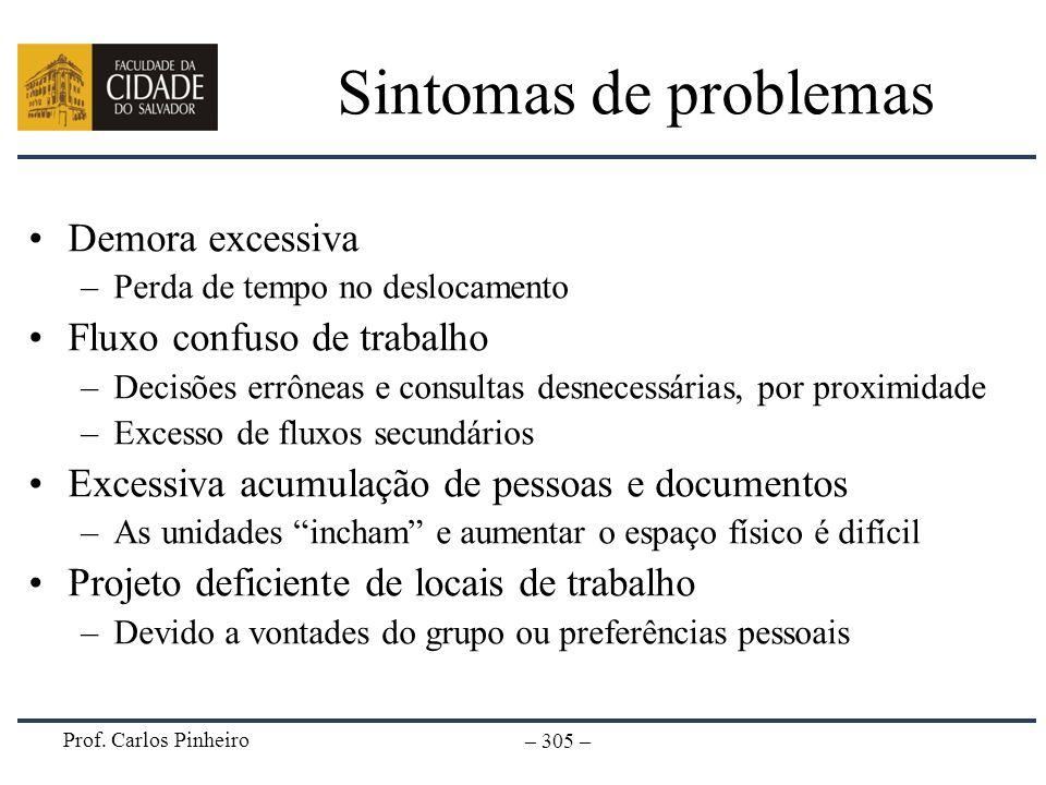 Prof. Carlos Pinheiro – 305 – Sintomas de problemas Demora excessiva –Perda de tempo no deslocamento Fluxo confuso de trabalho –Decisões errôneas e co