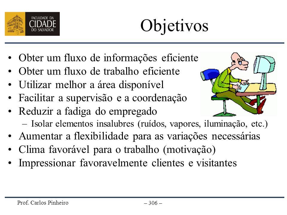 Prof. Carlos Pinheiro – 306 – Objetivos Obter um fluxo de informações eficiente Obter um fluxo de trabalho eficiente Utilizar melhor a área disponível