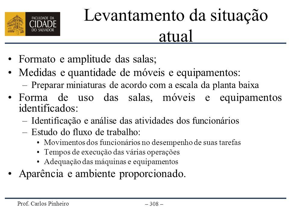 Prof. Carlos Pinheiro – 308 – Levantamento da situação atual Formato e amplitude das salas; Medidas e quantidade de móveis e equipamentos: –Preparar m