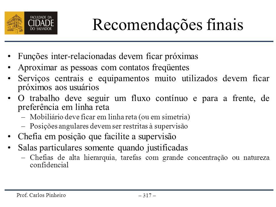 Prof. Carlos Pinheiro – 317 – Recomendações finais Funções inter-relacionadas devem ficar próximas Aproximar as pessoas com contatos freqüentes Serviç