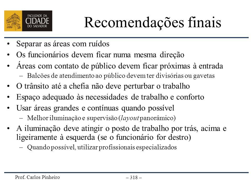 Prof. Carlos Pinheiro – 318 – Recomendações finais Separar as áreas com ruídos Os funcionários devem ficar numa mesma direção Áreas com contato de púb