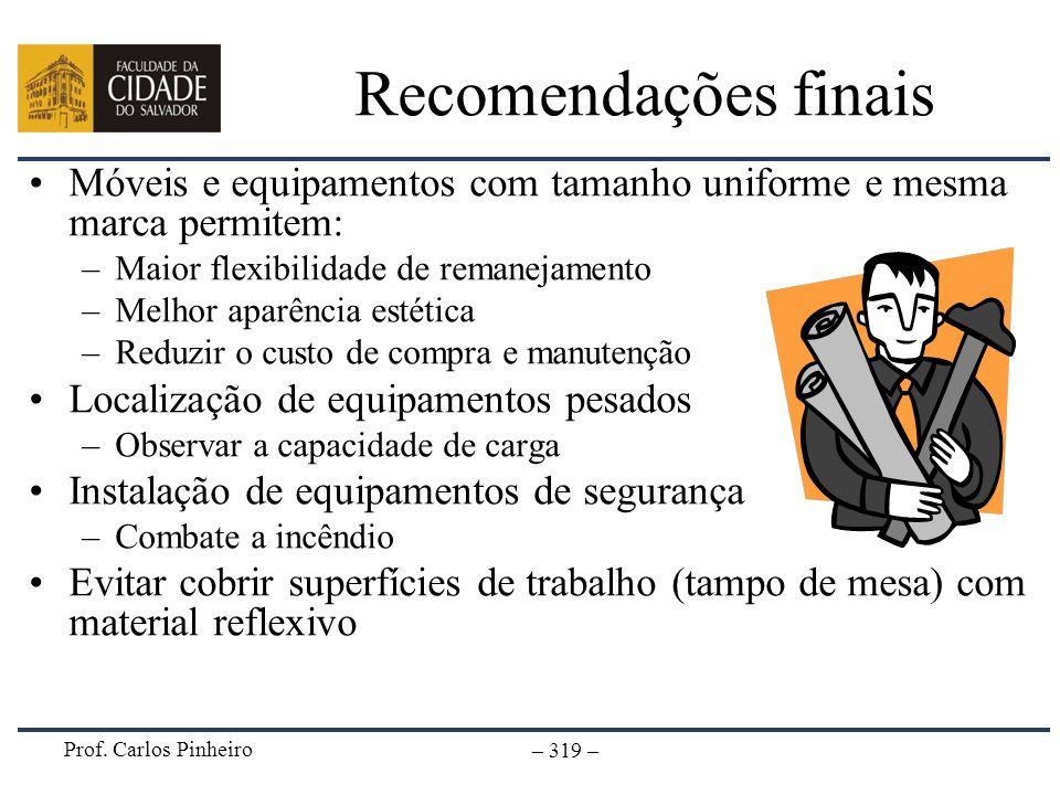 Prof. Carlos Pinheiro – 319 – Recomendações finais Móveis e equipamentos com tamanho uniforme e mesma marca permitem: –Maior flexibilidade de remaneja