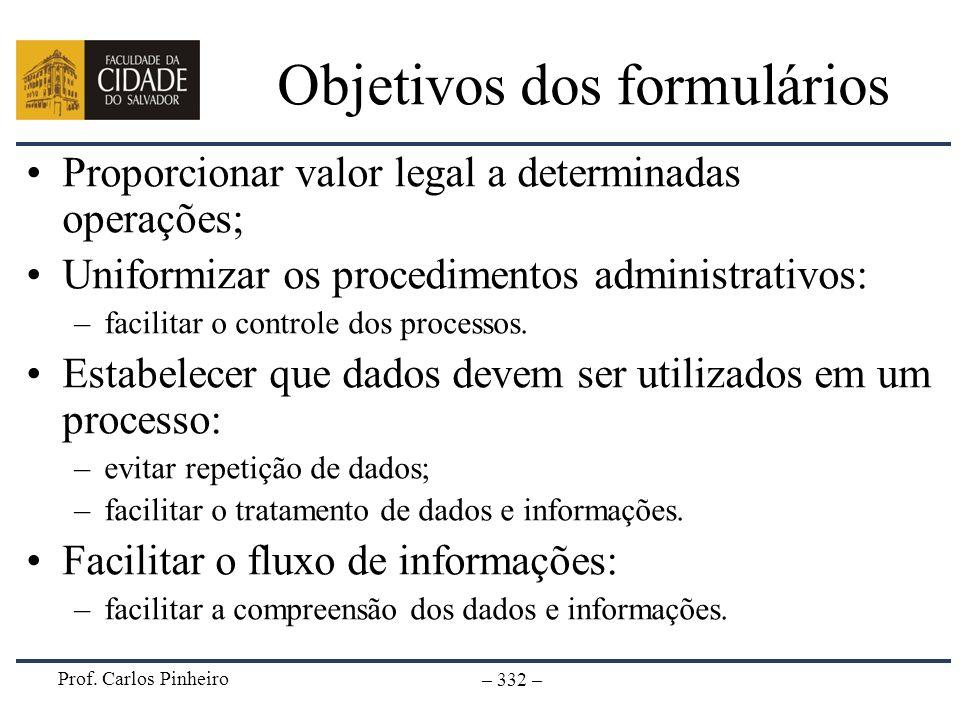 Prof. Carlos Pinheiro – 332 – Objetivos dos formulários Proporcionar valor legal a determinadas operações; Uniformizar os procedimentos administrativo