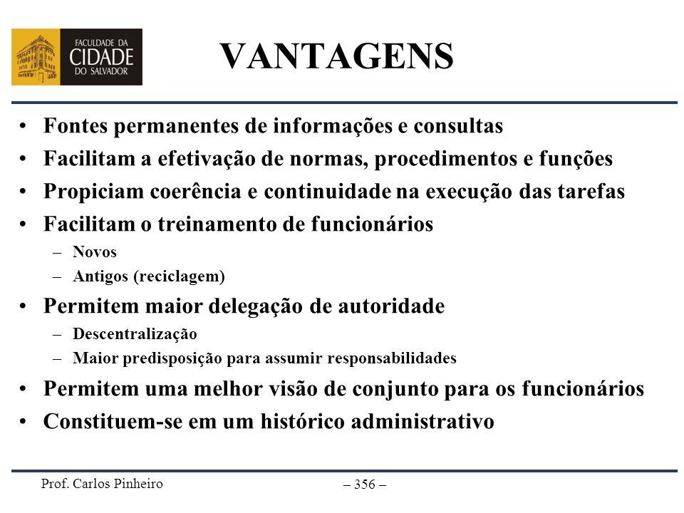 Prof. Carlos Pinheiro – 356 – VANTAGENS Fontes permanentes de informações e consultas Facilitam a efetivação de normas, procedimentos e funções Propic