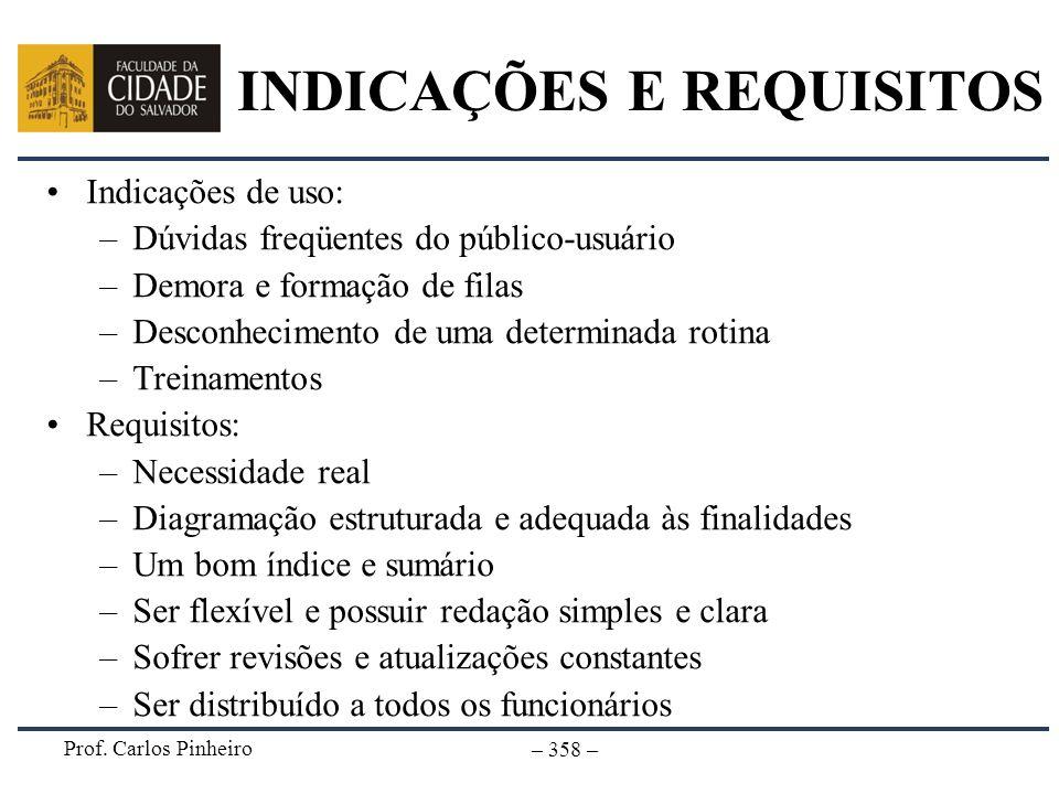 Prof. Carlos Pinheiro – 358 – INDICAÇÕES E REQUISITOS Indicações de uso: –Dúvidas freqüentes do público-usuário –Demora e formação de filas –Desconhec