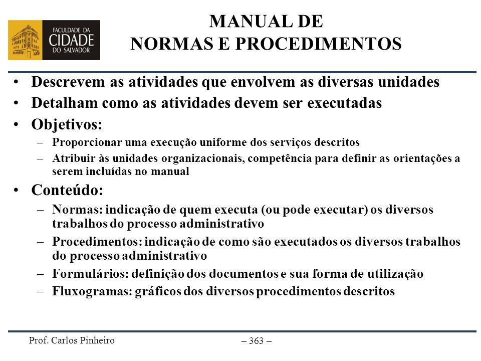 Prof. Carlos Pinheiro – 363 – MANUAL DE NORMAS E PROCEDIMENTOS Descrevem as atividades que envolvem as diversas unidades Detalham como as atividades d