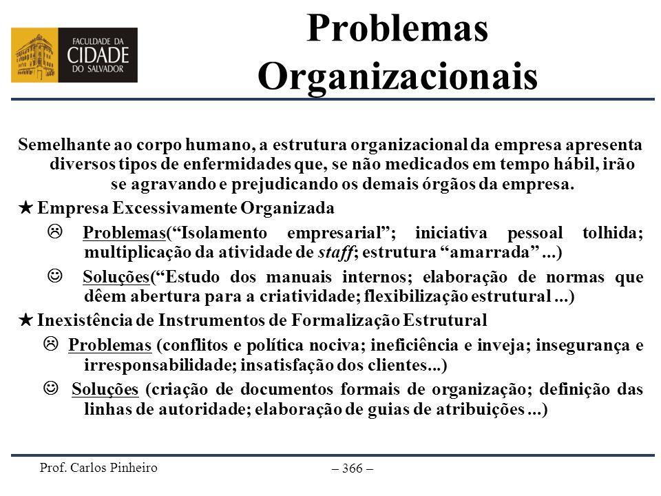 Prof. Carlos Pinheiro – 366 – Problemas Organizacionais Semelhante ao corpo humano, a estrutura organizacional da empresa apresenta diversos tipos de