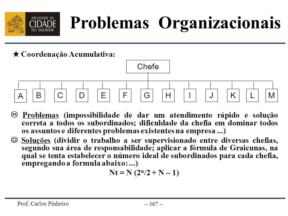Prof. Carlos Pinheiro – 367 – Problemas (impossibilidade de dar um atendimento rápido e solução correta a todos os subordinados; dificuldade da chefia