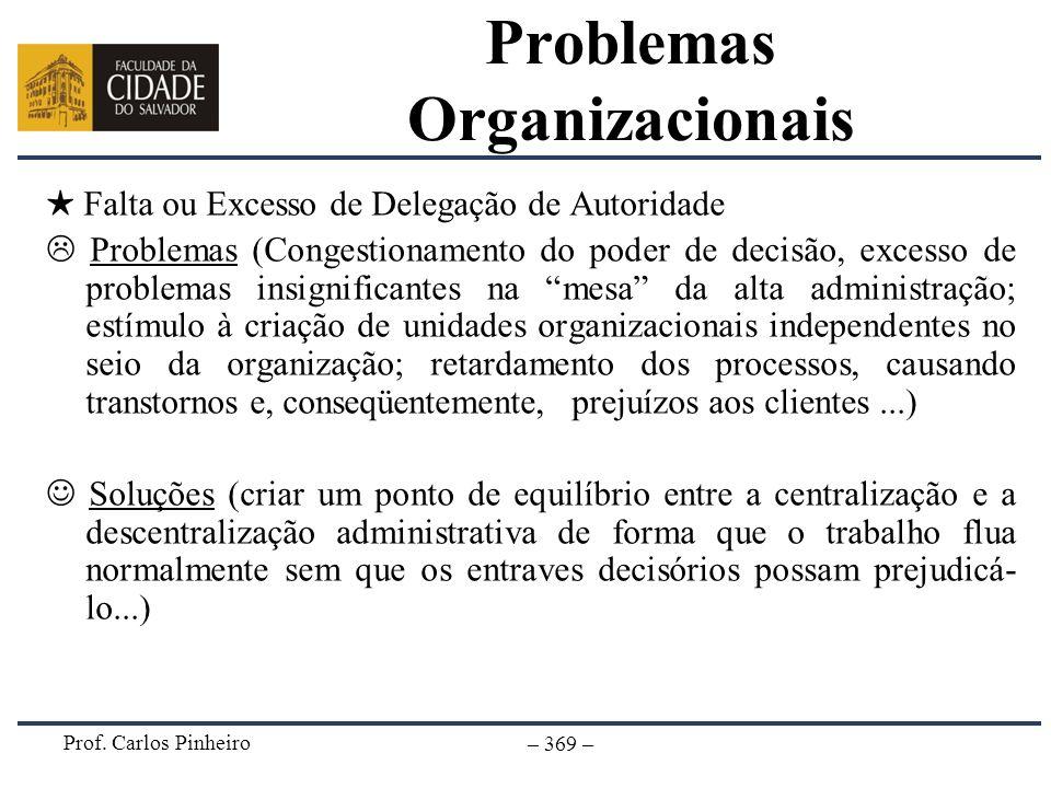 Prof. Carlos Pinheiro – 369 – Falta ou Excesso de Delegação de Autoridade Problemas (Congestionamento do poder de decisão, excesso de problemas insign