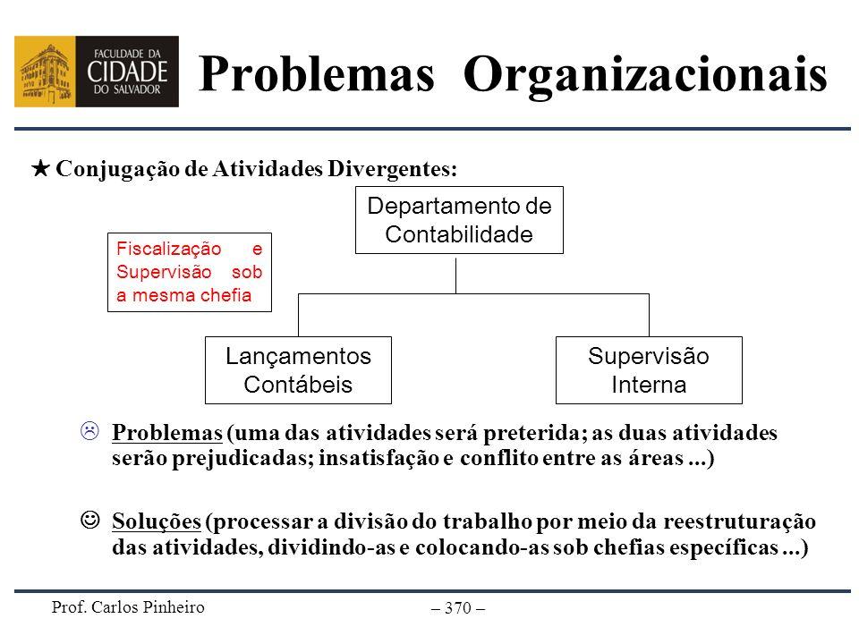 Prof. Carlos Pinheiro – 370 – Problemas (uma das atividades será preterida; as duas atividades serão prejudicadas; insatisfação e conflito entre as ár