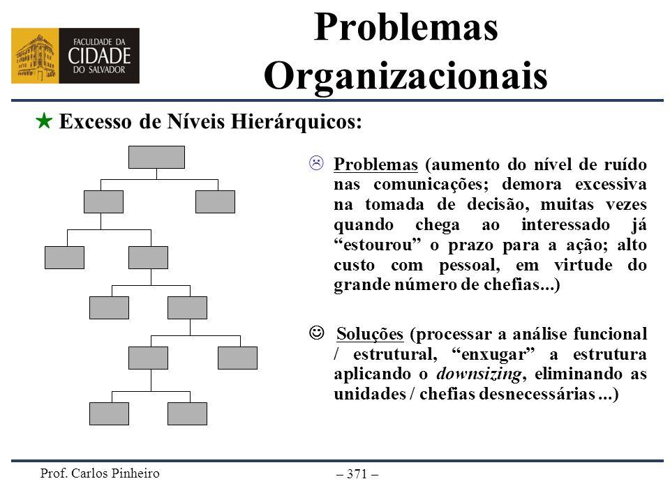 Prof. Carlos Pinheiro – 371 – Problemas (aumento do nível de ruído nas comunicações; demora excessiva na tomada de decisão, muitas vezes quando chega
