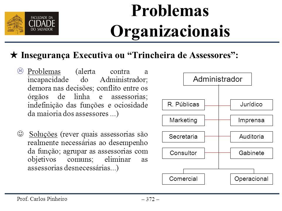 Prof. Carlos Pinheiro – 372 – Insegurança Executiva ou Trincheira de Assessores: Problemas (alerta contra a incapacidade do Administrador; demora nas