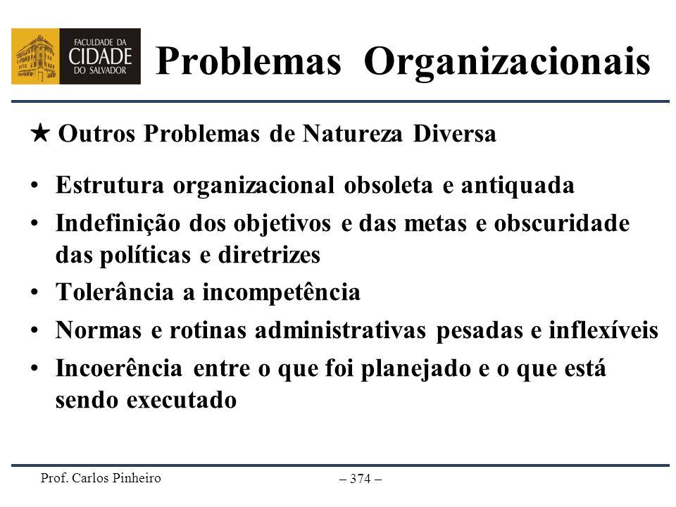 Prof. Carlos Pinheiro – 374 – Outros Problemas de Natureza Diversa Estrutura organizacional obsoleta e antiquada Indefinição dos objetivos e das metas
