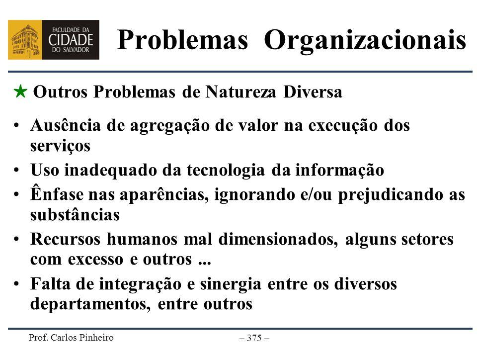 Prof. Carlos Pinheiro – 375 – Outros Problemas de Natureza Diversa Ausência de agregação de valor na execução dos serviços Uso inadequado da tecnologi