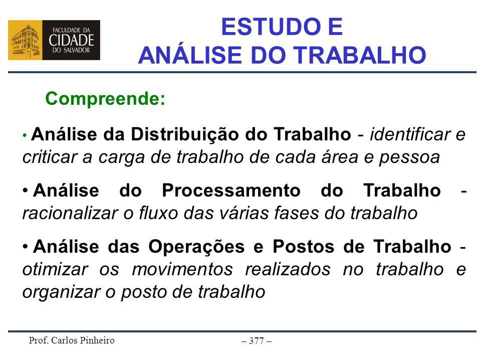 Prof. Carlos Pinheiro – 377 – ESTUDO E ANÁLISE DO TRABALHO Compreende: Análise da Distribuição do Trabalho - identificar e criticar a carga de trabalh