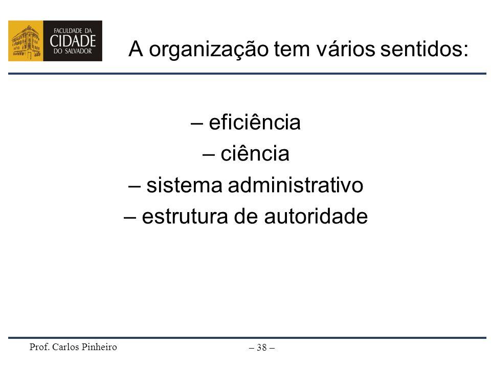 Prof. Carlos Pinheiro – 38 – A organização tem vários sentidos: – eficiência – ciência – sistema administrativo – estrutura de autoridade