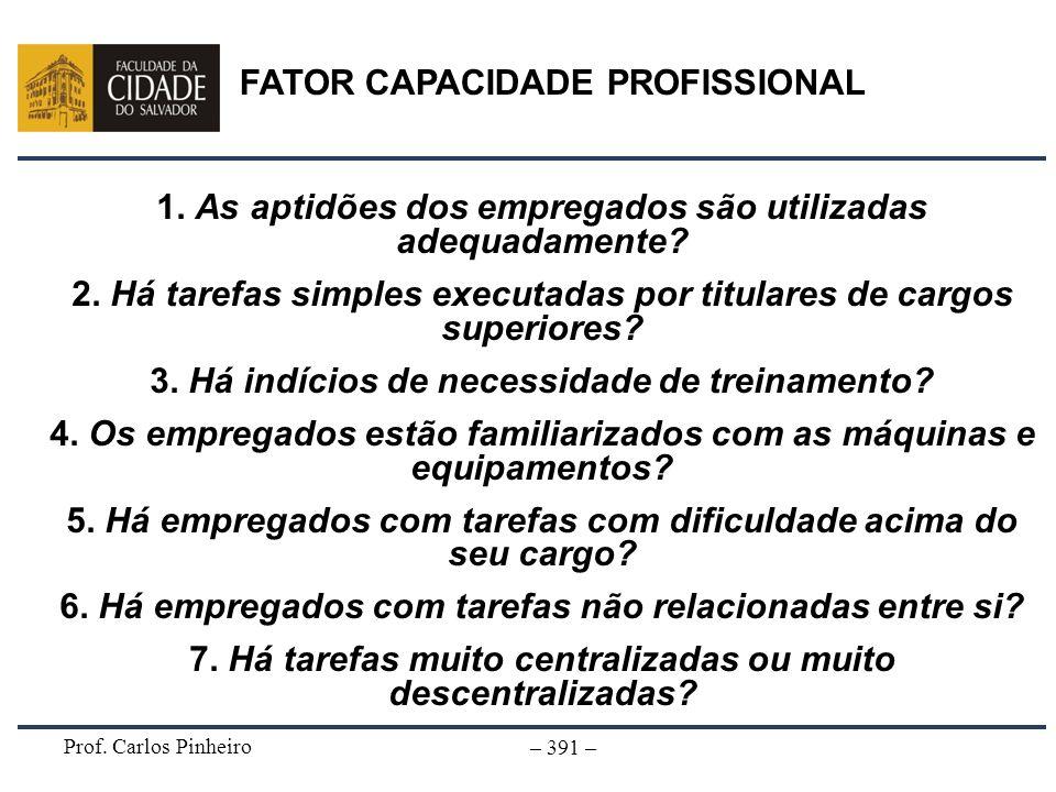 Prof. Carlos Pinheiro – 391 – FATOR CAPACIDADE PROFISSIONAL 1. As aptidões dos empregados são utilizadas adequadamente? 2. Há tarefas simples executad