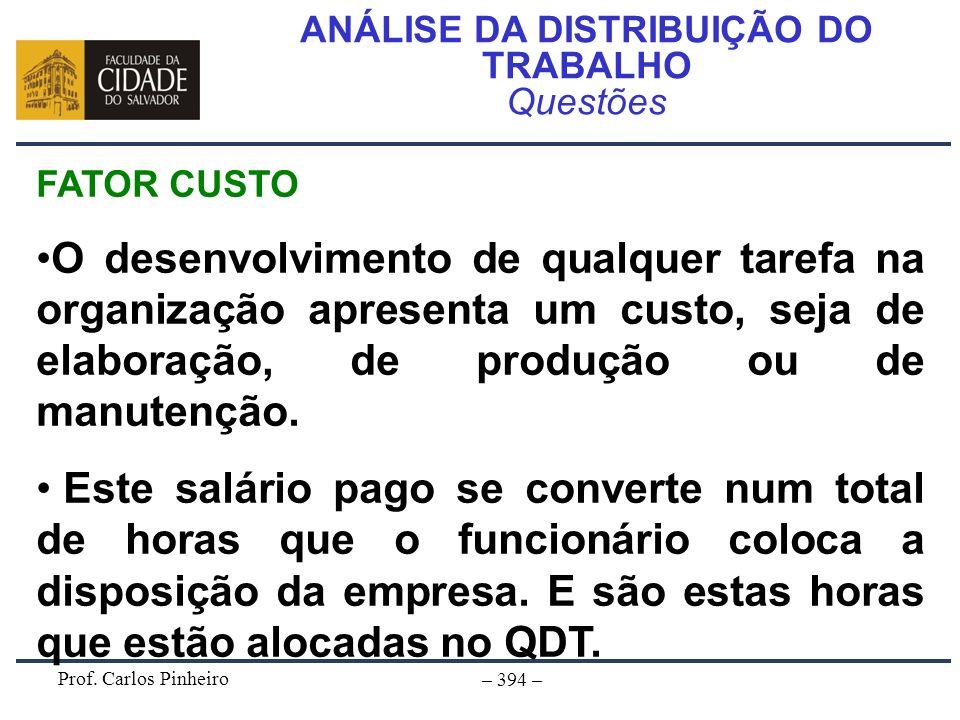 Prof. Carlos Pinheiro – 394 – ANÁLISE DA DISTRIBUIÇÃO DO TRABALHO Questões FATOR CUSTO O desenvolvimento de qualquer tarefa na organização apresenta u