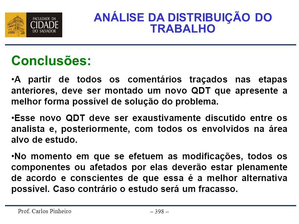 Prof. Carlos Pinheiro – 398 – ANÁLISE DA DISTRIBUIÇÃO DO TRABALHO Conclusões: A partir de todos os comentários traçados nas etapas anteriores, deve se