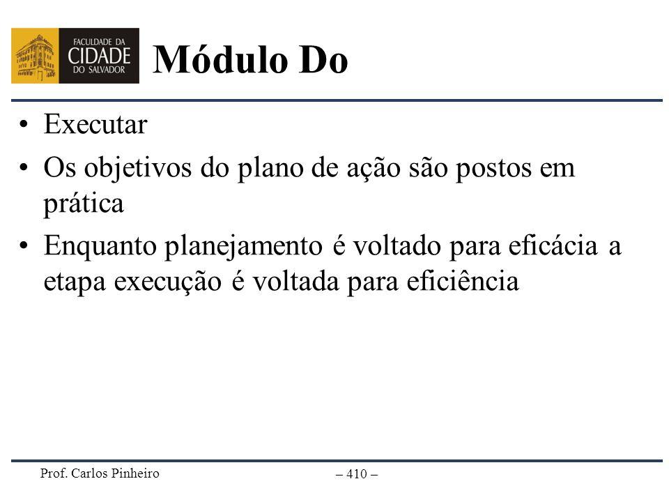 Prof. Carlos Pinheiro – 410 – Módulo Do Executar Os objetivos do plano de ação são postos em prática Enquanto planejamento é voltado para eficácia a e