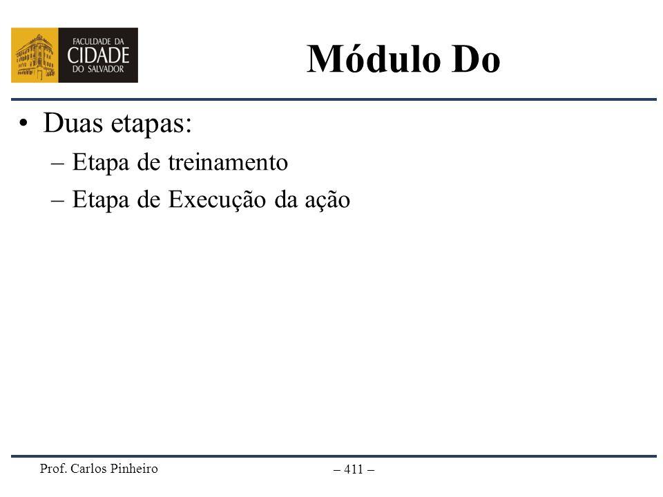Prof. Carlos Pinheiro – 411 – Módulo Do Duas etapas: –Etapa de treinamento –Etapa de Execução da ação