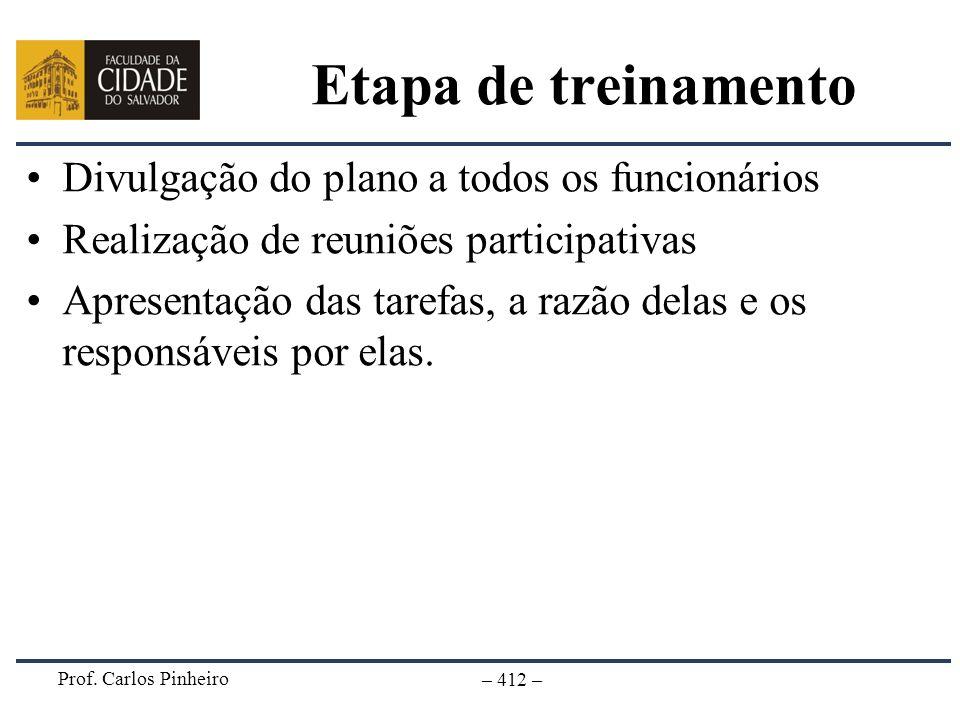 Prof. Carlos Pinheiro – 412 – Etapa de treinamento Divulgação do plano a todos os funcionários Realização de reuniões participativas Apresentação das