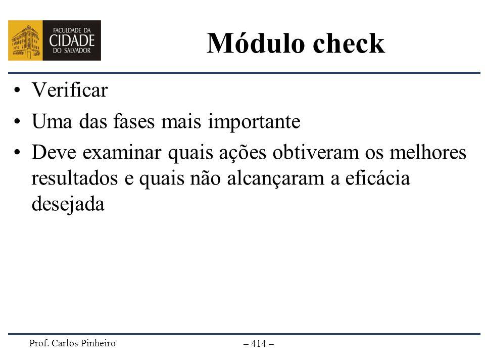 Prof. Carlos Pinheiro – 414 – Módulo check Verificar Uma das fases mais importante Deve examinar quais ações obtiveram os melhores resultados e quais