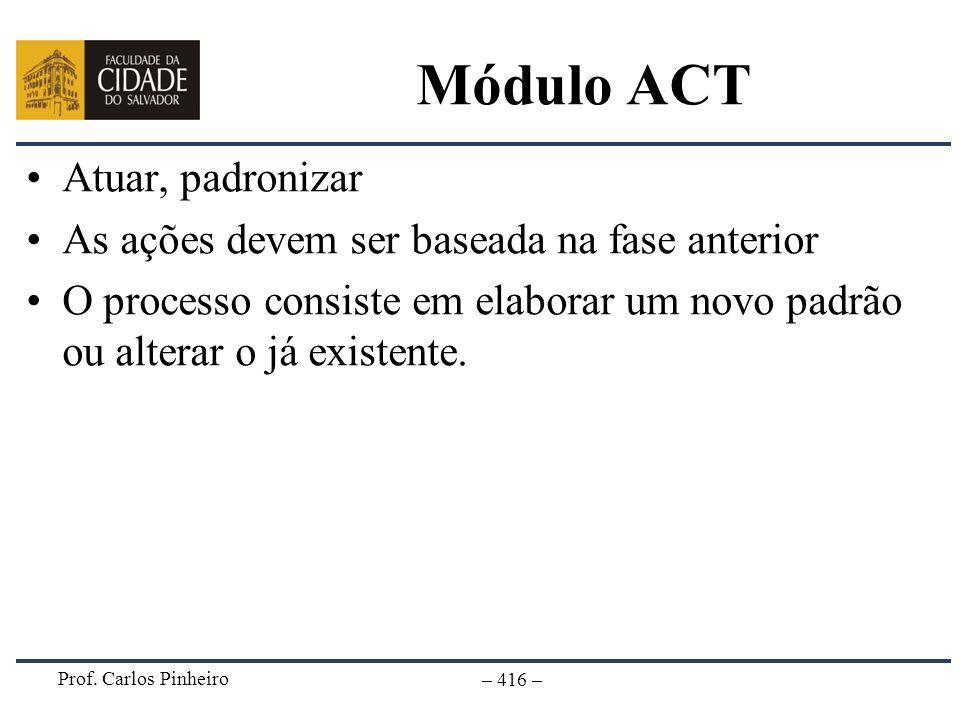 Prof. Carlos Pinheiro – 416 – Módulo ACT Atuar, padronizar As ações devem ser baseada na fase anterior O processo consiste em elaborar um novo padrão