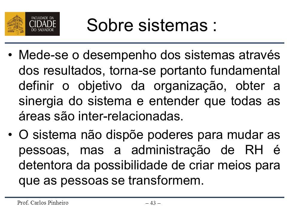 Prof. Carlos Pinheiro – 43 – Sobre sistemas : Mede-se o desempenho dos sistemas através dos resultados, torna-se portanto fundamental definir o objeti