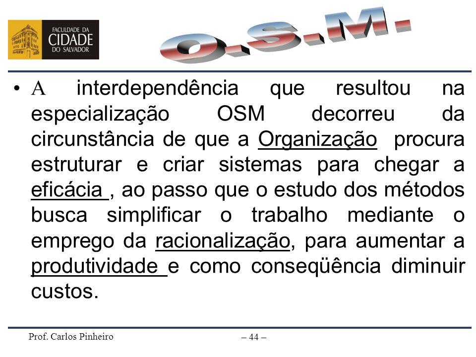 Prof. Carlos Pinheiro – 44 – A interdependência que resultou na especialização OSM decorreu da circunstância de que a Organização procura estruturar e