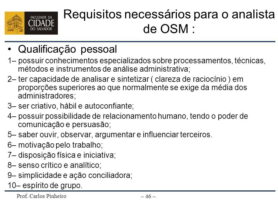 Prof. Carlos Pinheiro – 46 – Requisitos necessários para o analista de OSM : Qualificação pessoal 1– possuir conhecimentos especializados sobre proces
