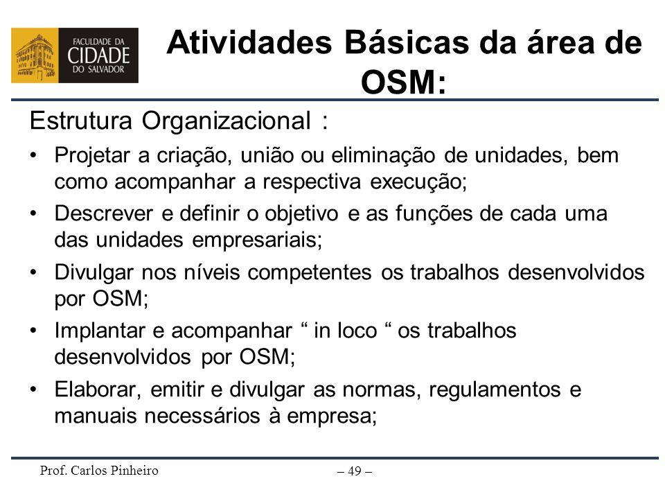 Prof. Carlos Pinheiro – 49 – Atividades Básicas da área de OSM: Estrutura Organizacional : Projetar a criação, união ou eliminação de unidades, bem co