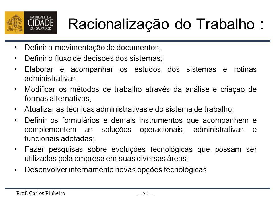 Prof. Carlos Pinheiro – 50 – Racionalização do Trabalho : Definir a movimentação de documentos; Definir o fluxo de decisões dos sistemas; Elaborar e a