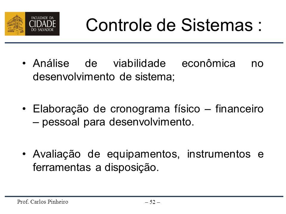 Prof. Carlos Pinheiro – 52 – Controle de Sistemas : Análise de viabilidade econômica no desenvolvimento de sistema; Elaboração de cronograma físico –