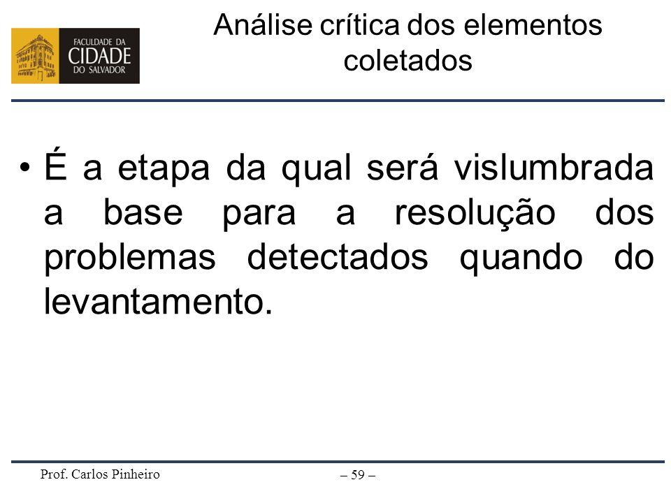 Prof. Carlos Pinheiro – 59 – Análise crítica dos elementos coletados É a etapa da qual será vislumbrada a base para a resolução dos problemas detectad