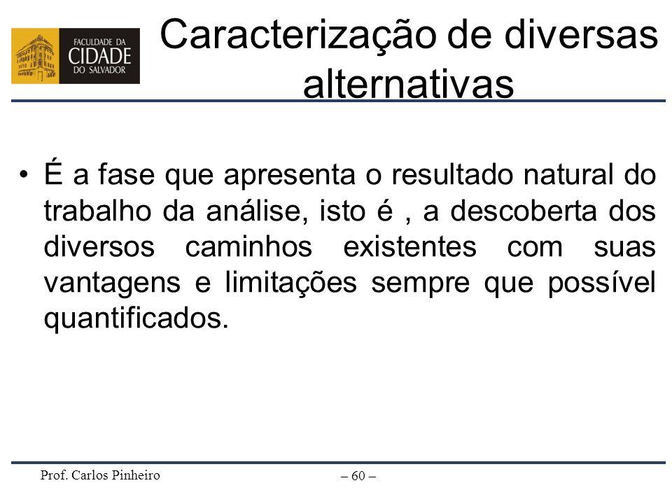 Prof. Carlos Pinheiro – 60 – Caracterização de diversas alternativas É a fase que apresenta o resultado natural do trabalho da análise, isto é, a desc