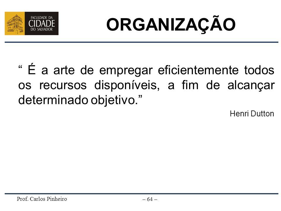 Prof. Carlos Pinheiro – 64 – ORGANIZAÇÃO É a arte de empregar eficientemente todos os recursos disponíveis, a fim de alcançar determinado objetivo. He