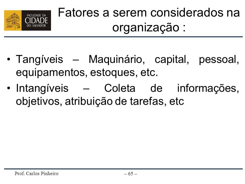 Prof. Carlos Pinheiro – 65 – Fatores a serem considerados na organização : Tangíveis – Maquinário, capital, pessoal, equipamentos, estoques, etc. Inta