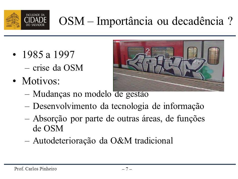 Prof. Carlos Pinheiro – 7 – OSM – Importância ou decadência ? 1985 a 1997 –crise da OSM Motivos: –Mudanças no modelo de gestão –Desenvolvimento da tec