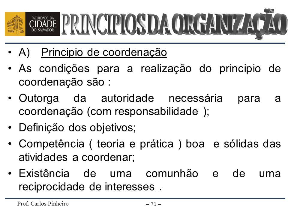 Prof. Carlos Pinheiro – 71 – A) Principio de coordenação As condições para a realização do principio de coordenação são : Outorga da autoridade necess