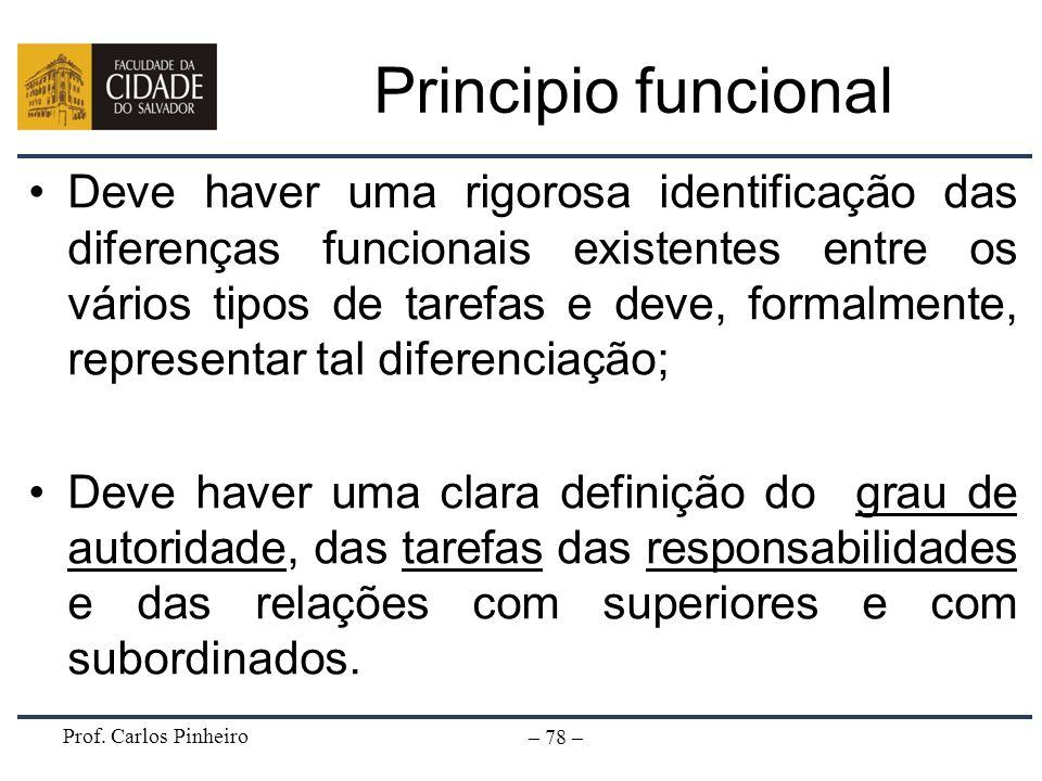 Prof. Carlos Pinheiro – 78 – Principio funcional Deve haver uma rigorosa identificação das diferenças funcionais existentes entre os vários tipos de t