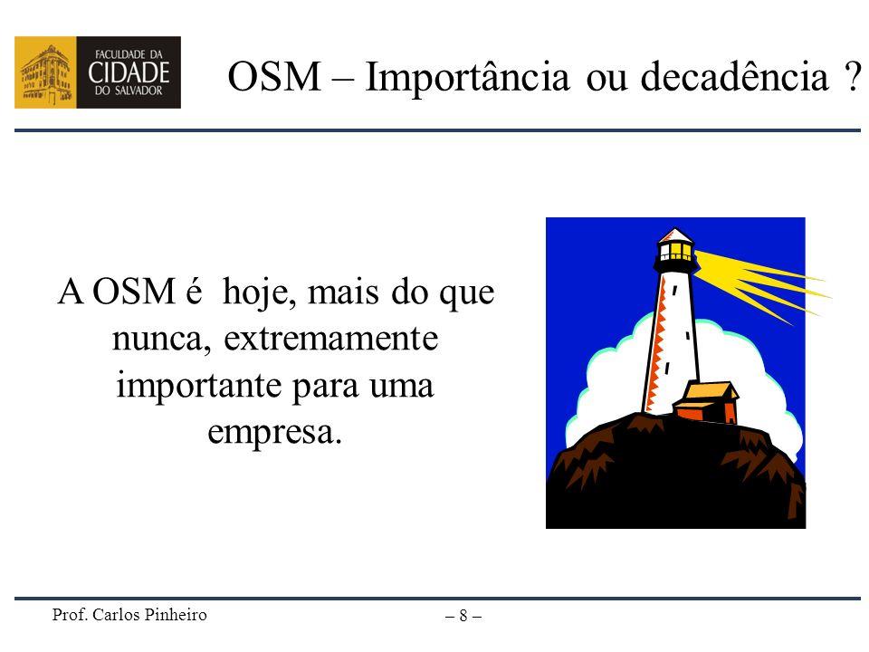 Prof. Carlos Pinheiro – 8 – OSM – Importância ou decadência ? A OSM é hoje, mais do que nunca, extremamente importante para uma empresa.