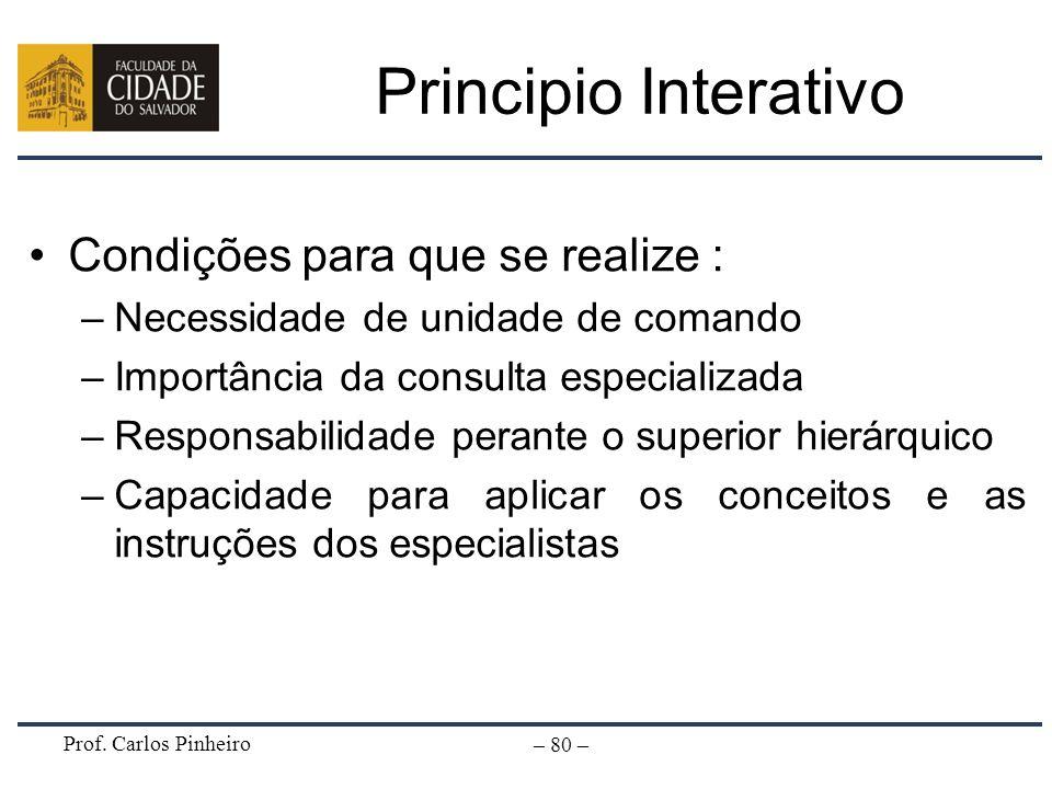 Prof. Carlos Pinheiro – 80 – Principio Interativo Condições para que se realize : –Necessidade de unidade de comando –Importância da consulta especial