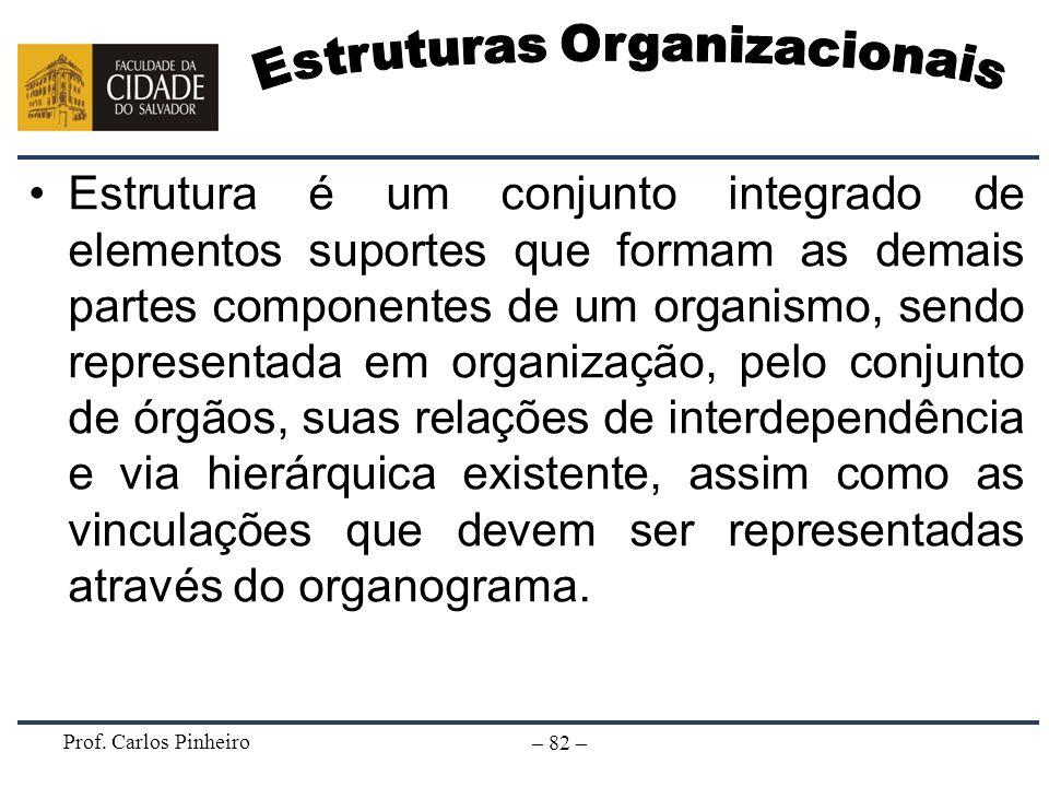 Prof. Carlos Pinheiro – 82 – Estrutura é um conjunto integrado de elementos suportes que formam as demais partes componentes de um organismo, sendo re