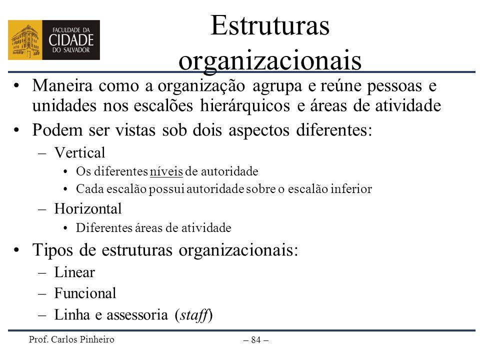 Prof. Carlos Pinheiro – 84 – Estruturas organizacionais Maneira como a organização agrupa e reúne pessoas e unidades nos escalões hierárquicos e áreas