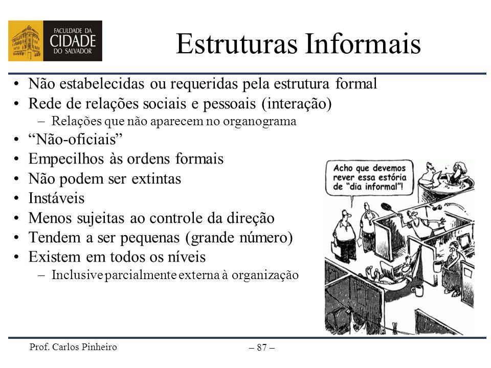 Prof. Carlos Pinheiro – 87 – Estruturas Informais Não estabelecidas ou requeridas pela estrutura formal Rede de relações sociais e pessoais (interação