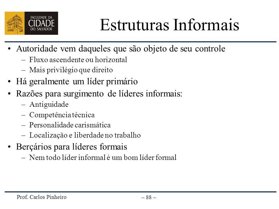 Prof. Carlos Pinheiro – 88 – Estruturas Informais Autoridade vem daqueles que são objeto de seu controle –Fluxo ascendente ou horizontal –Mais privilé