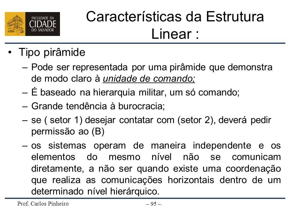 Prof. Carlos Pinheiro – 95 – Características da Estrutura Linear : Tipo pirâmide –Pode ser representada por uma pirâmide que demonstra de modo claro à