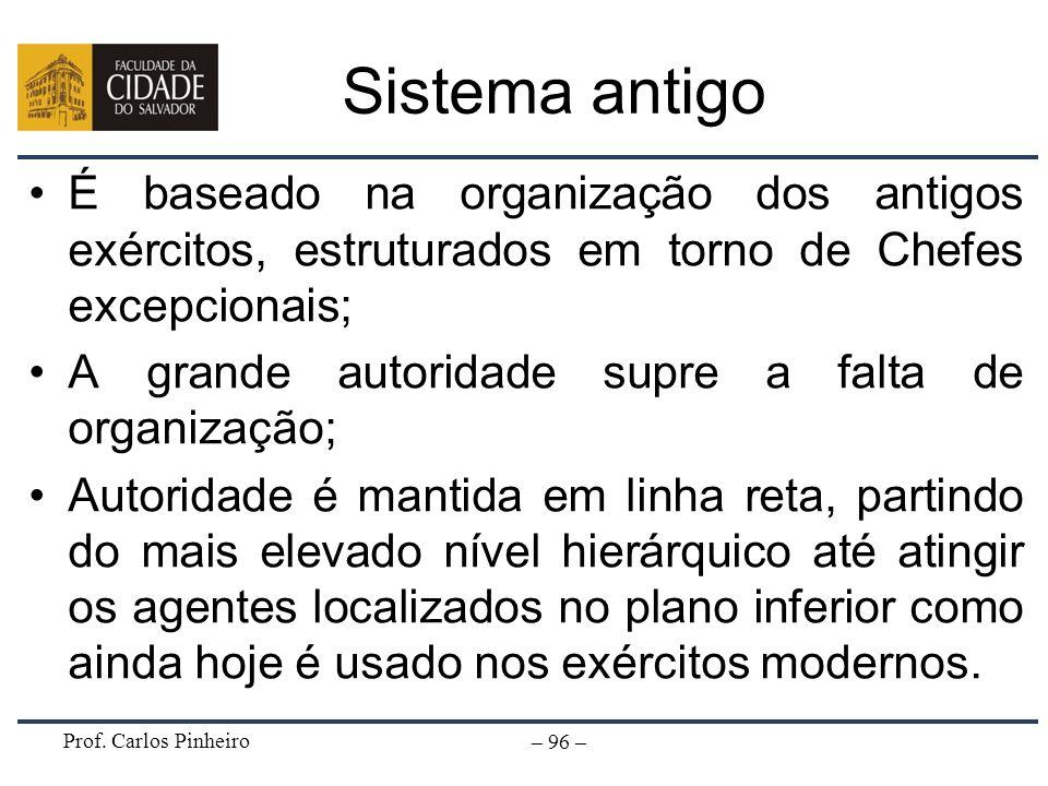 Prof. Carlos Pinheiro – 96 – Sistema antigo É baseado na organização dos antigos exércitos, estruturados em torno de Chefes excepcionais; A grande aut