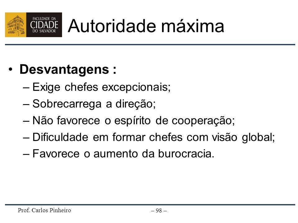 Prof. Carlos Pinheiro – 98 – Desvantagens : –Exige chefes excepcionais; –Sobrecarrega a direção; –Não favorece o espírito de cooperação; –Dificuldade